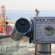 Telescope overlooking Adventure Island, formally Peter Pans Playground. by fuzzyfish